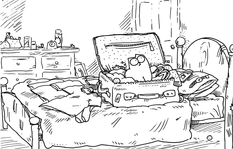 Photo wallpaper cat, room, figure, watch, bed, humor, ball, the door, pillow, socks, suitcase, the trick, chest, …