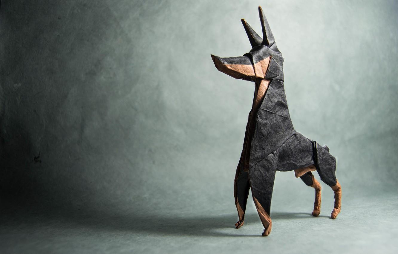 shadow, dog, origami, dog, Doberman