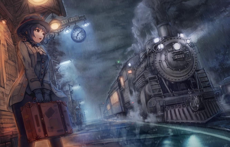 Wallpaper Anime Train Asian Asiatic Deredere Moe Japanse Girl Waiting For Train Orientel Images For Desktop Section Art Download