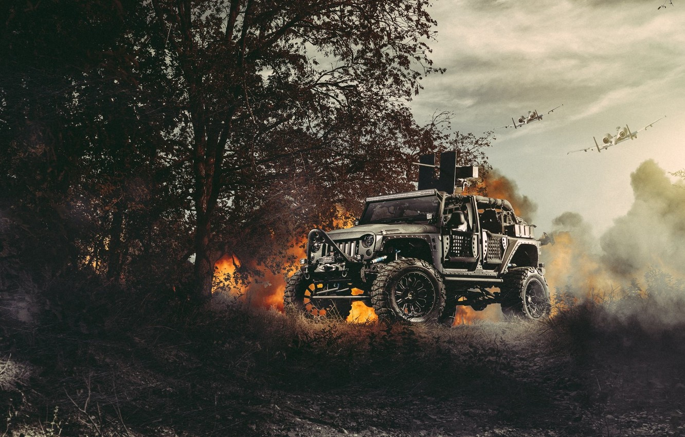 Photo wallpaper Nature, Fire, Cars, Front, Wrangler, Jeep, Off Road, Planes, FullMetalGunner