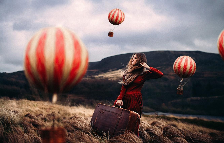 Photo wallpaper girl, balloons, art, suitcase, Rosie Hardy, Mind Traveller