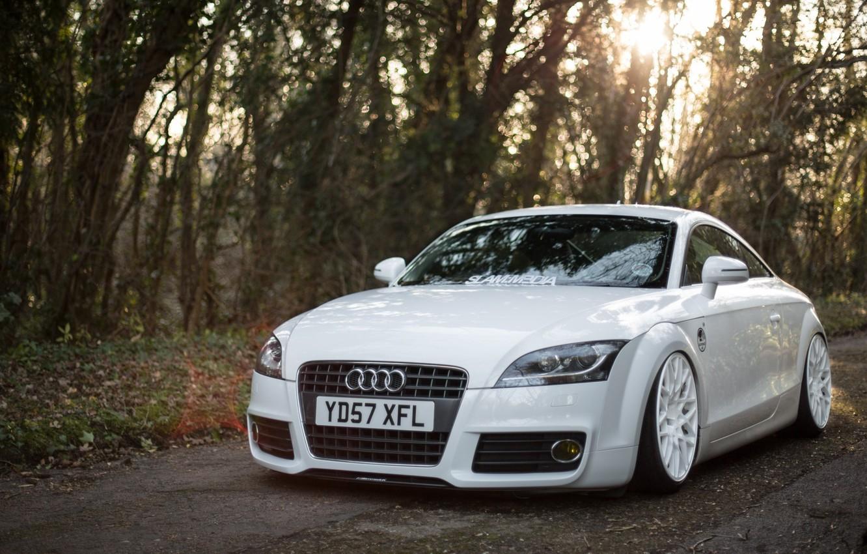 Photo wallpaper Audi, Car, White, Wheels, Stanceworks