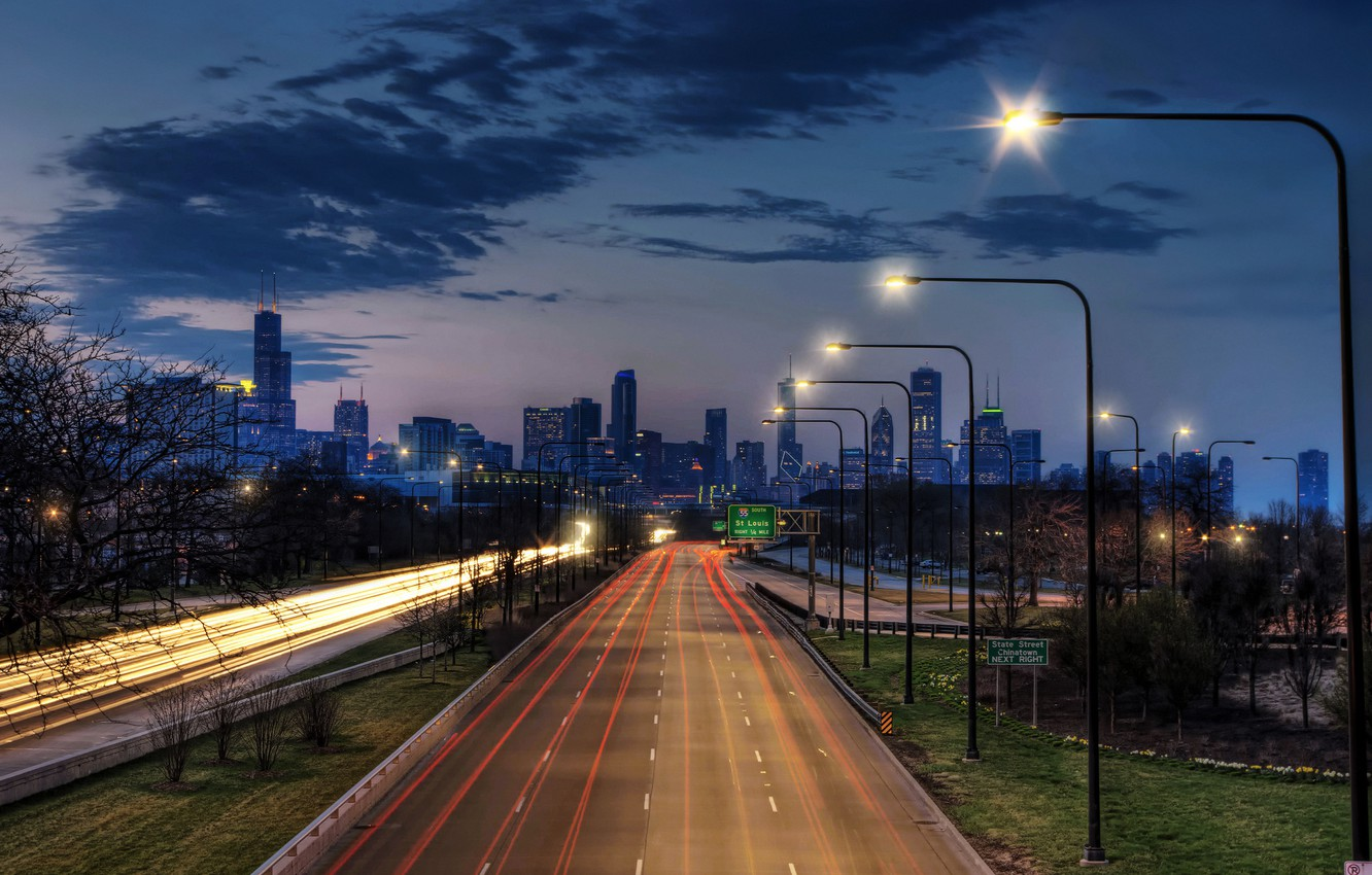Wallpaper Night The City Lights The Evening Excerpt Chicago
