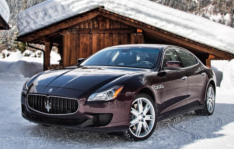 Photo wallpaper snow, Maserati, Quattroporte, car, Maserati, Italian