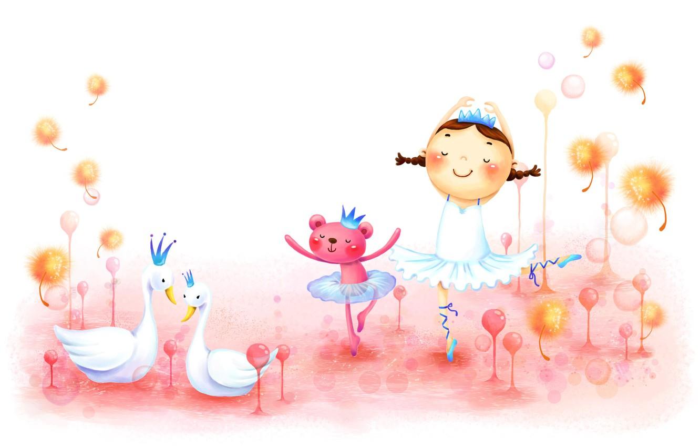Photo wallpaper childhood, figure, dance, girl, braids, swans, animal, fabulously