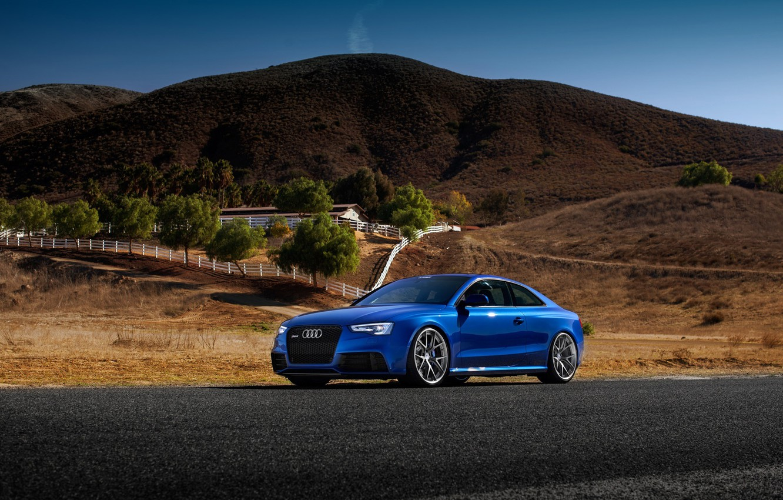Photo wallpaper Audi, Car, Blue, RS5, Sport, Road, Wheels, Tuned, HRE