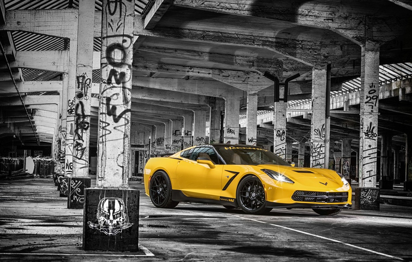 Photo wallpaper Corvette, Chevrolet, Muscle, Car, Front, Yellow, Stingray, HPE700, 2015, Ruffer