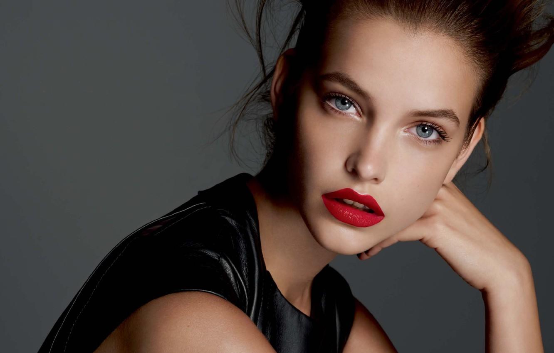 Photo wallpaper girl, face, model, lipstick, brown hair, red, blue-eyed, model, Barbara Palvin, Barbara Palvin, Victoria's Secret …