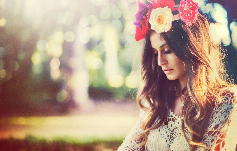 Photo wallpaper summer, girl, flowers, wreath