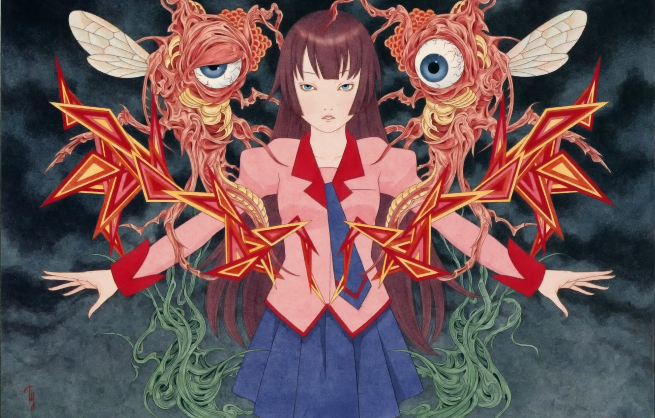 Photo wallpaper eyes, monster, larvae, mucus, Bakemonogatari, black magic, History of monsters, Hitagi Senjougahara, by Takato Yamamoto