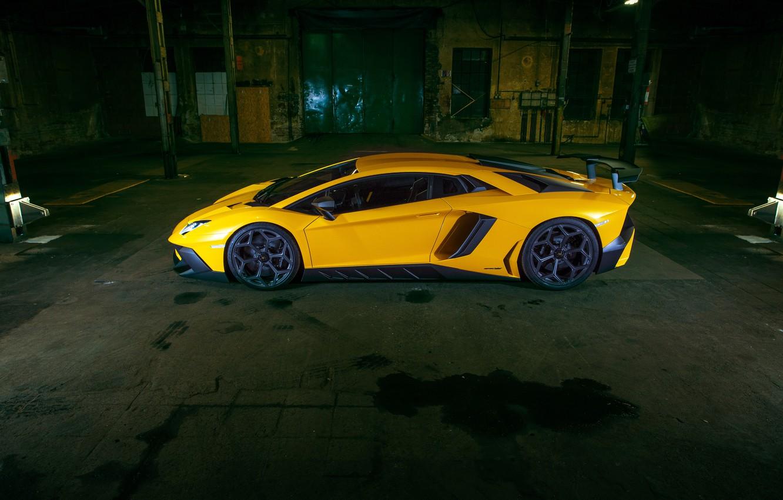 Photo wallpaper car, Lamborghini, wallpaper, car, side view, yellow, Aventador, Novitec, Torado, LP 750-4, Superveloce, Lamborghini