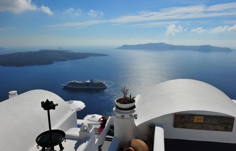 Photo wallpaper sea, landscape, view, Greece, liner, Santorini