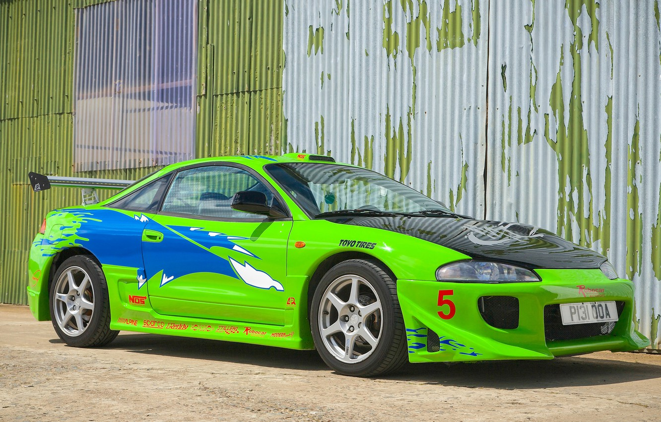 Photo wallpaper car, auto, green, super, the fast and the furious, Mitsubishi Eclipse