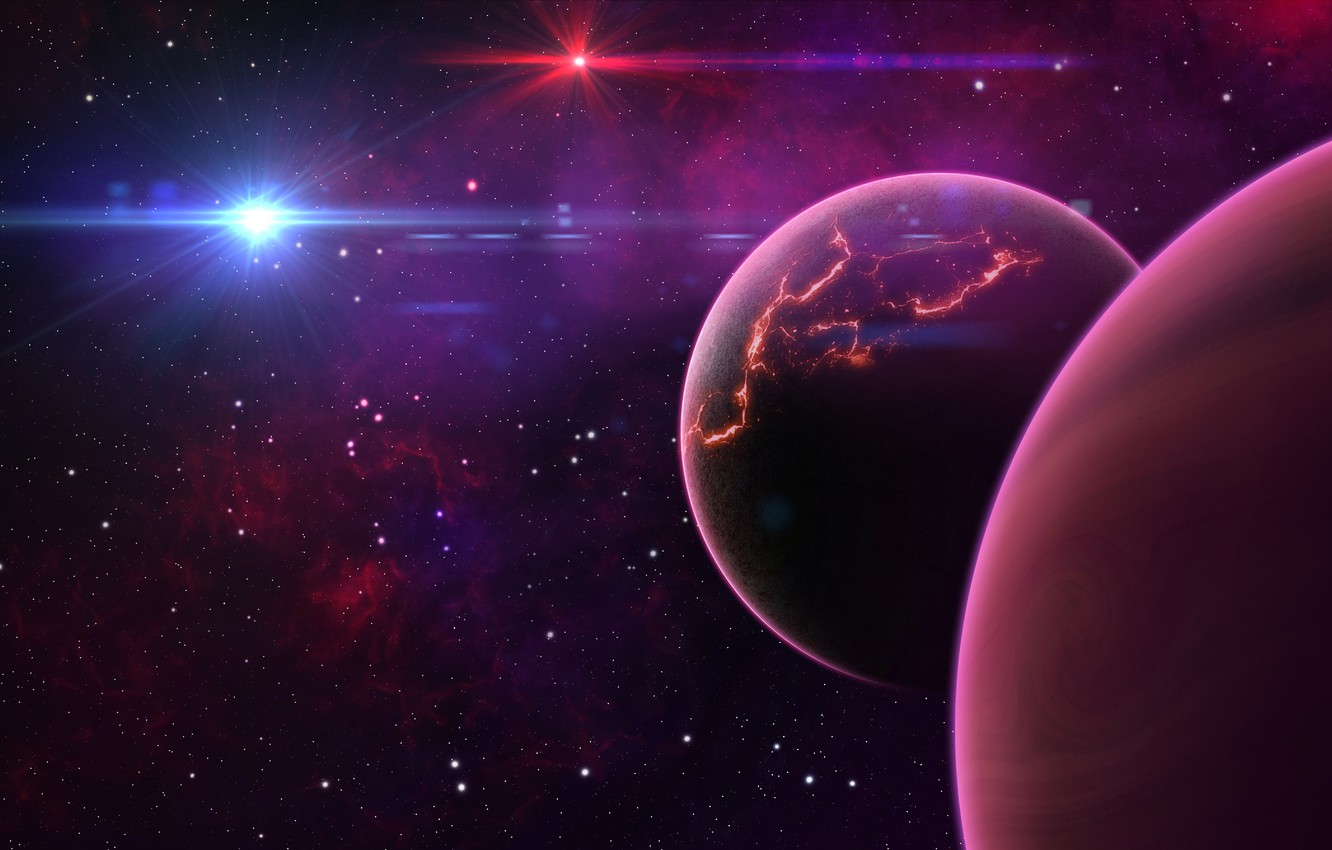 Photo wallpaper space, planet, stars, space, planet