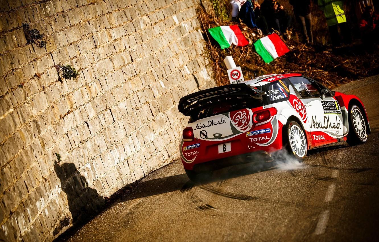 Photo wallpaper Smoke, Wall, Citroen, DS3, WRC, Rally, Monte Carlo, Back, Stephane Lefebvre
