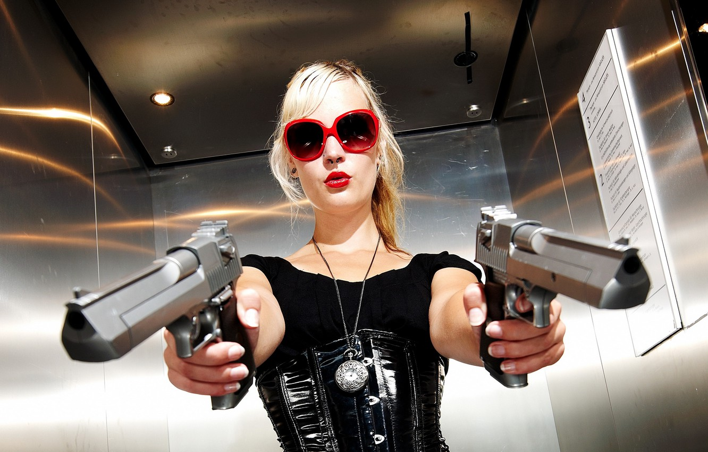 Photo wallpaper girl, weapons, guns