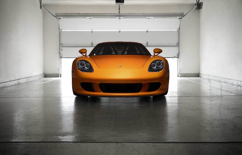 Photo wallpaper Porsche, Orange, Front, Carrera, Supercar, Garage, Exotic, Borealis, Ligth, Nigth, Arancio