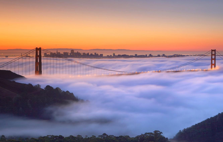 Photo wallpaper bridge, fog, CA, support, San Francisco, Golden Gate, USA
