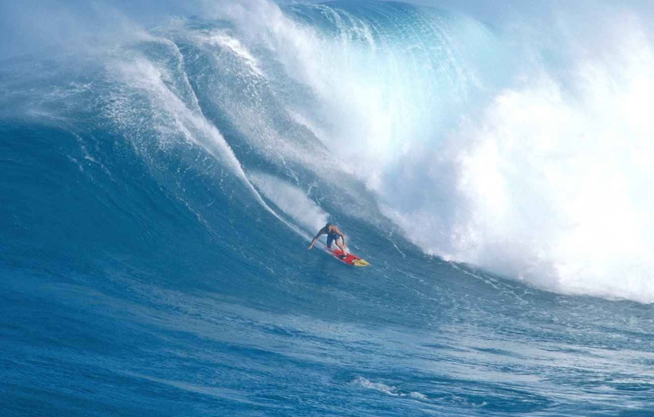 Photo wallpaper the ocean, wave, surfer