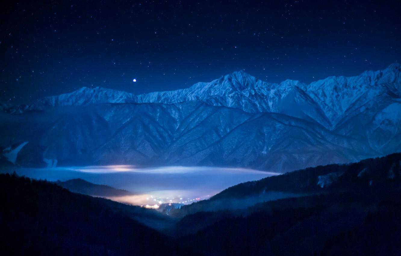 Photo wallpaper the sky, stars, landscape, mountains, star, Sirius