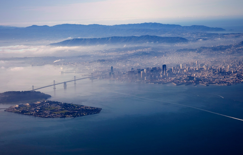 Photo wallpaper bridge, the city, fog, Bay, USA, CA