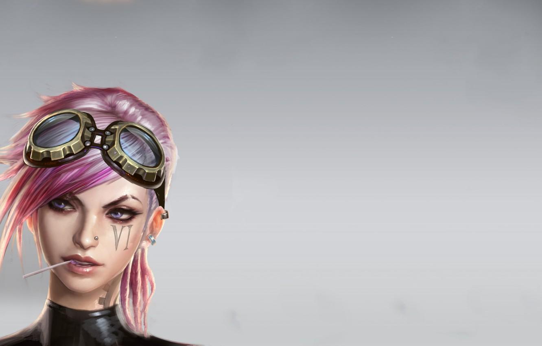 Photo wallpaper girl, piercing, glasses, girl, pink, six, Women, hair, pink hair