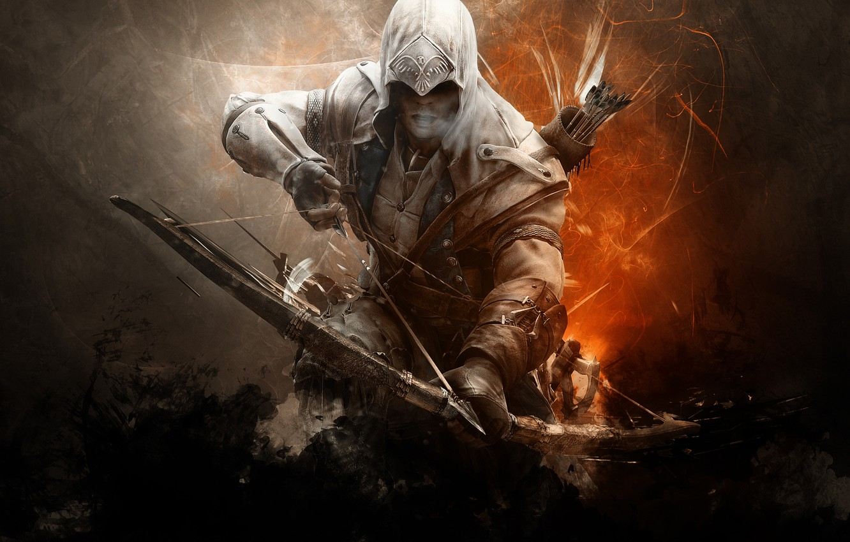Photo wallpaper bow, arrow, killer, assassin, assassin, the creed of the assassins, assassins creed 3, abstract background, …