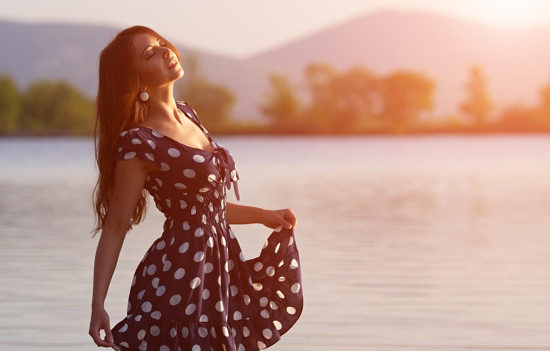 Photo wallpaper girl, river, morning, brown hair