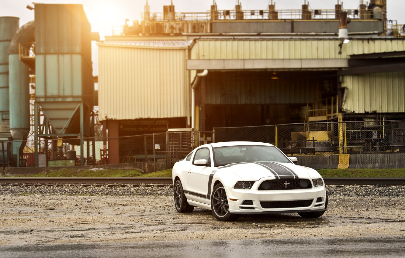 Photo wallpaper white, Mustang, Ford, Mustang, Boss 302, white, muscle car, Ford, Blik, muscle car, racing stripes