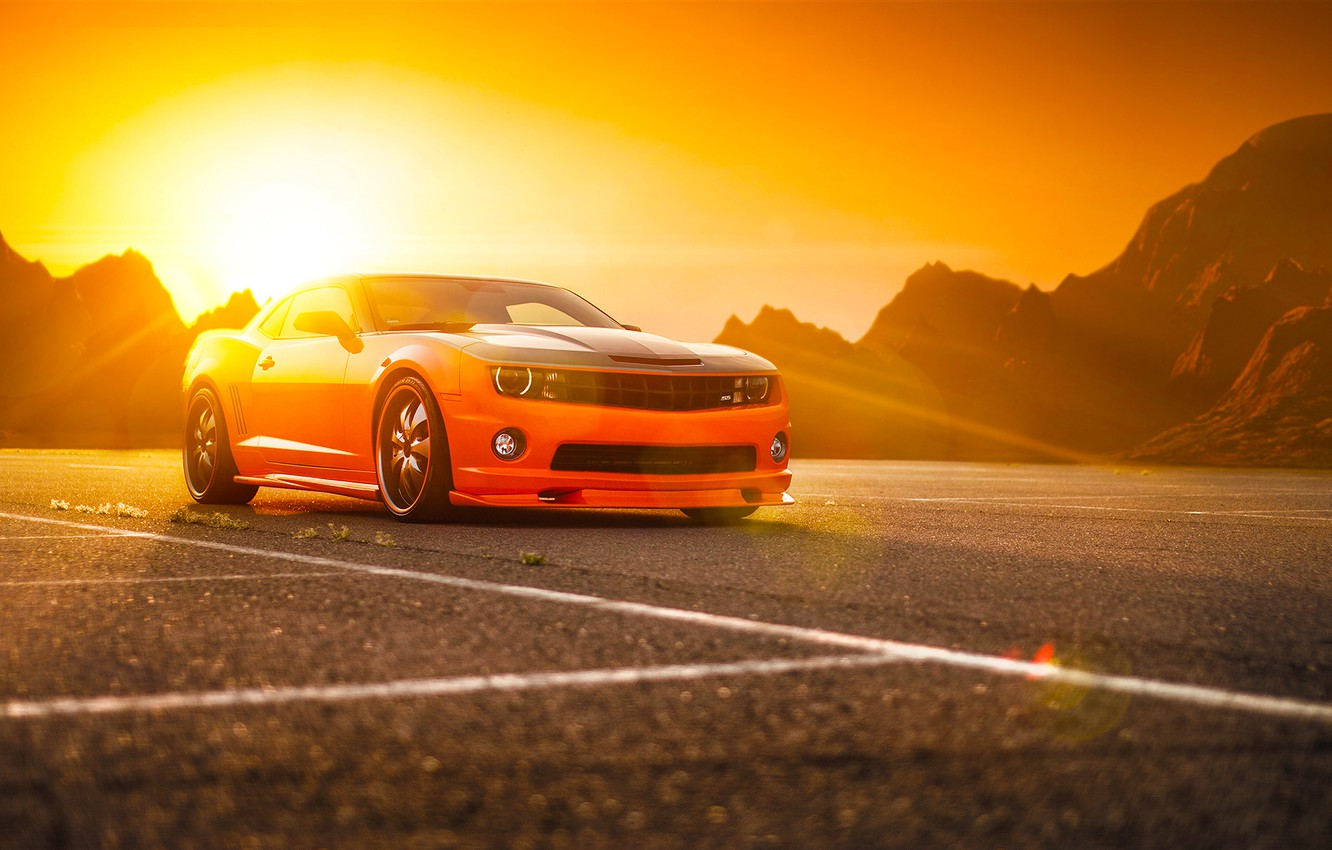 Photo wallpaper Chevrolet, Muscle, Camaro, Orange, Car, Power, Front, Sun, Tuning, Wheels, Beam