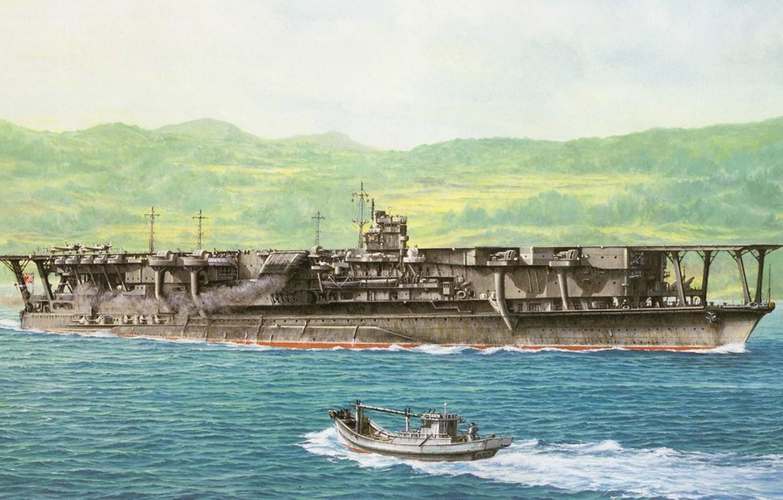 Wallpaper ship, art, the carrier, Navy, military, Japanese, WW2