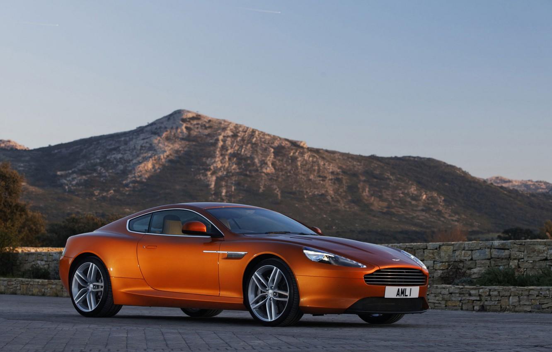 Photo wallpaper the sky, landscape, mountains, Aston Martin, coupe, Virage