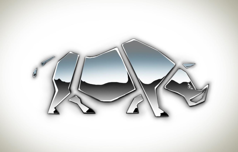 Photo wallpaper metal, reflection, figure, white background, part, Rhino