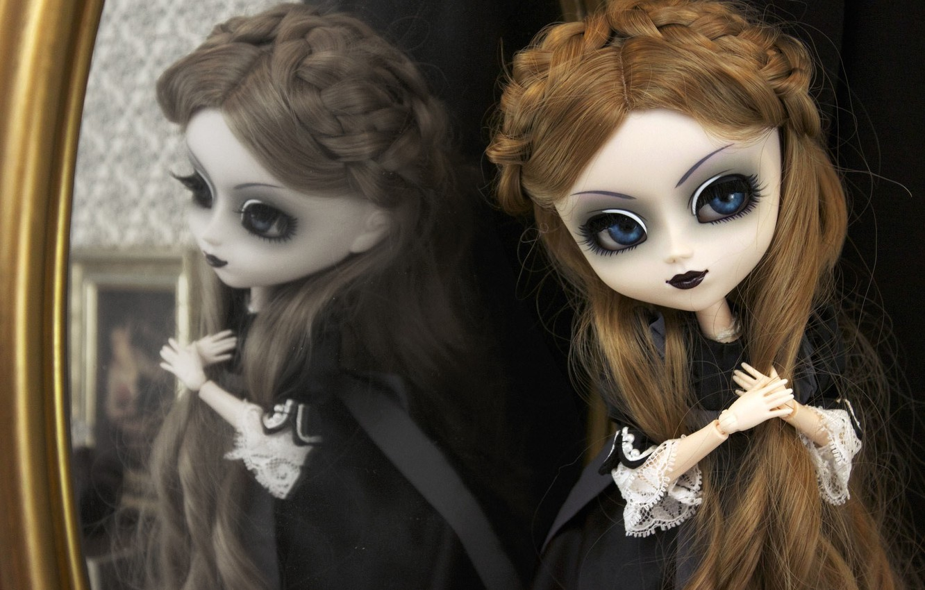 Photo wallpaper reflection, Gothic, toy, doll, mirror, long hair