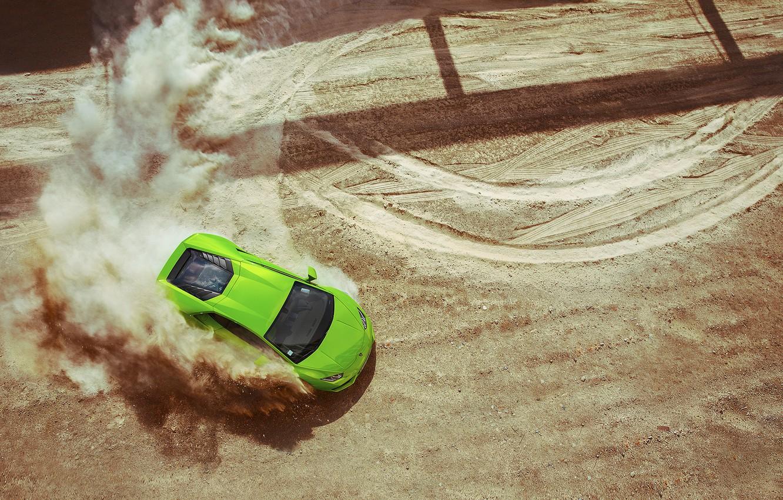 Photo wallpaper Lamborghini, Green, Sand, View, Huracan, Top, LP640-4, Skid, Drifting