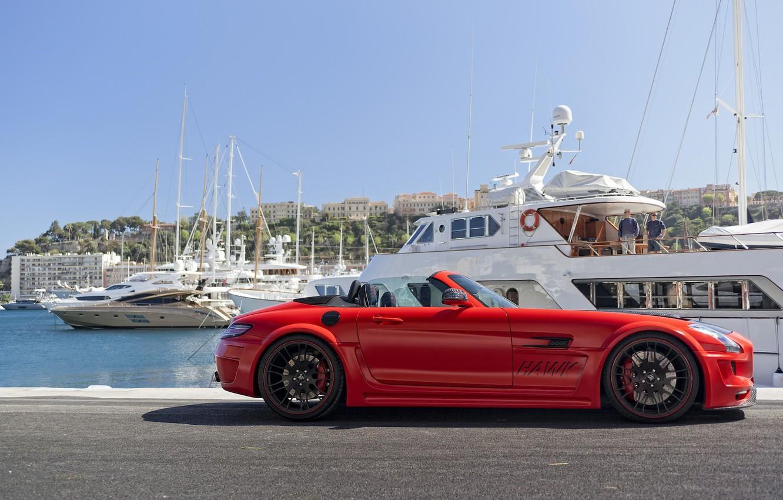Photo wallpaper Mercedes-Benz, Red, SLS AMG, Hamann Hawk