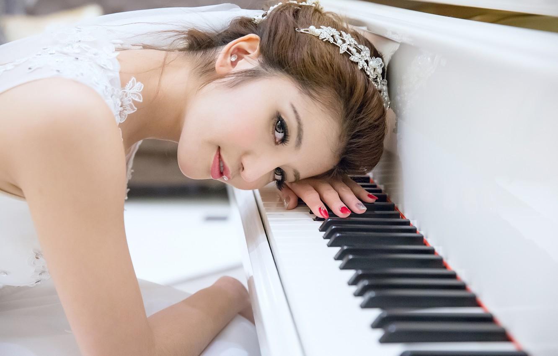 Photo wallpaper look, girl, face, hair, Asian, piano