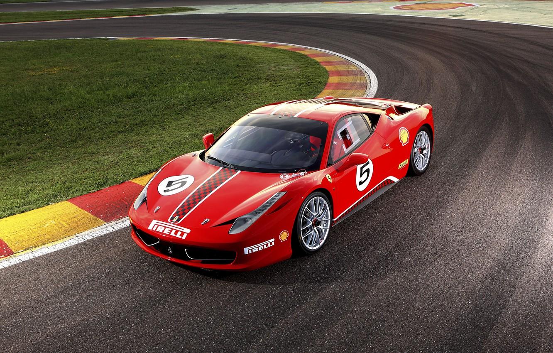 Photo wallpaper Ferrari, Ferrari, red, track, 458 Challenge 2011