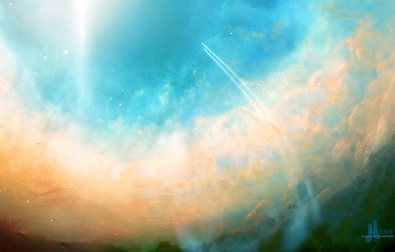 Photo wallpaper the sky, clouds, light, trail, stars, JoeJesus