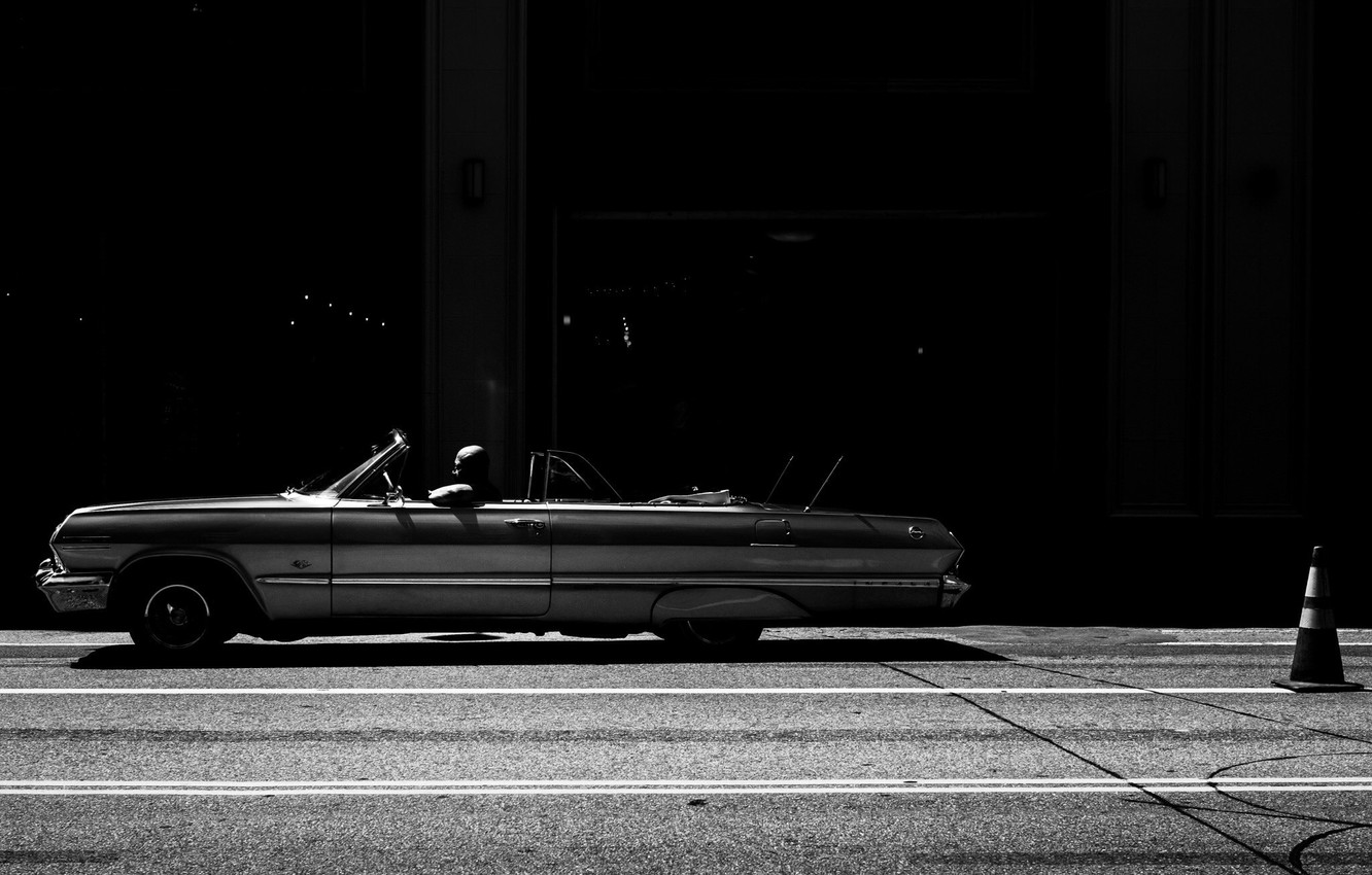 Photo wallpaper Car, Street, Wallpaper, Photo, Man, Rinzi Ruiz, Black & White