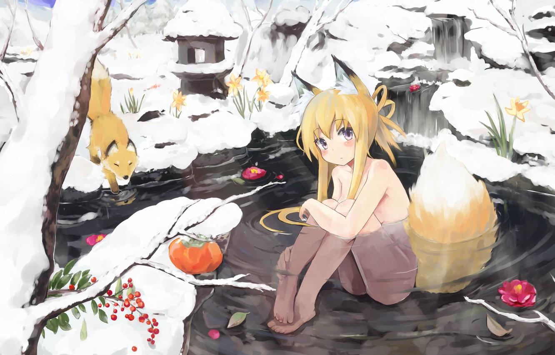 Photo wallpaper winter, water, girl, snow, flowers, berries, Fox, tail, Fox, ears, neko