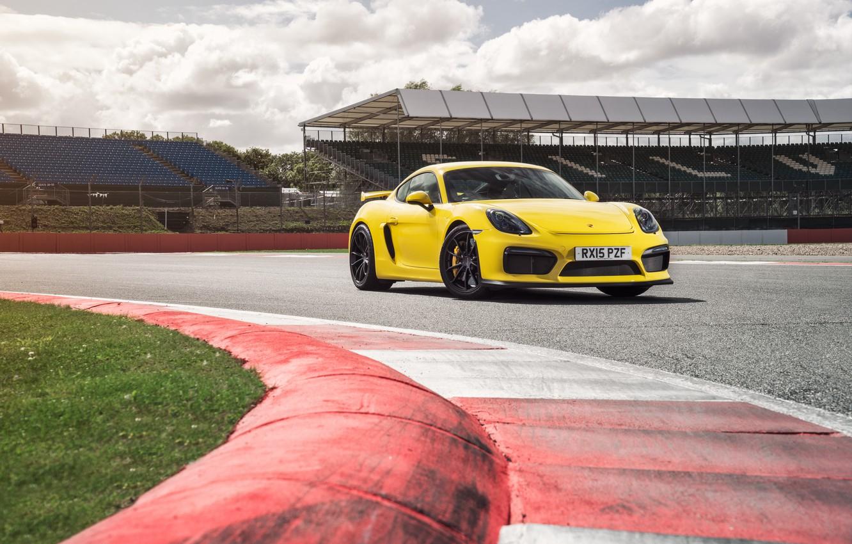 Photo wallpaper yellow, Porsche, Cayman, Porsche, GT4, Caiman