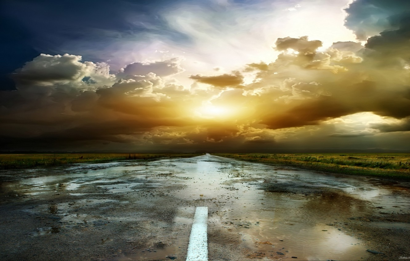 Photo wallpaper road, sunset, puddles
