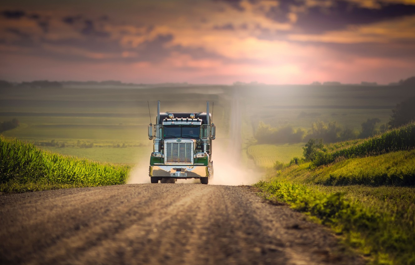 Photo wallpaper road, space, truck