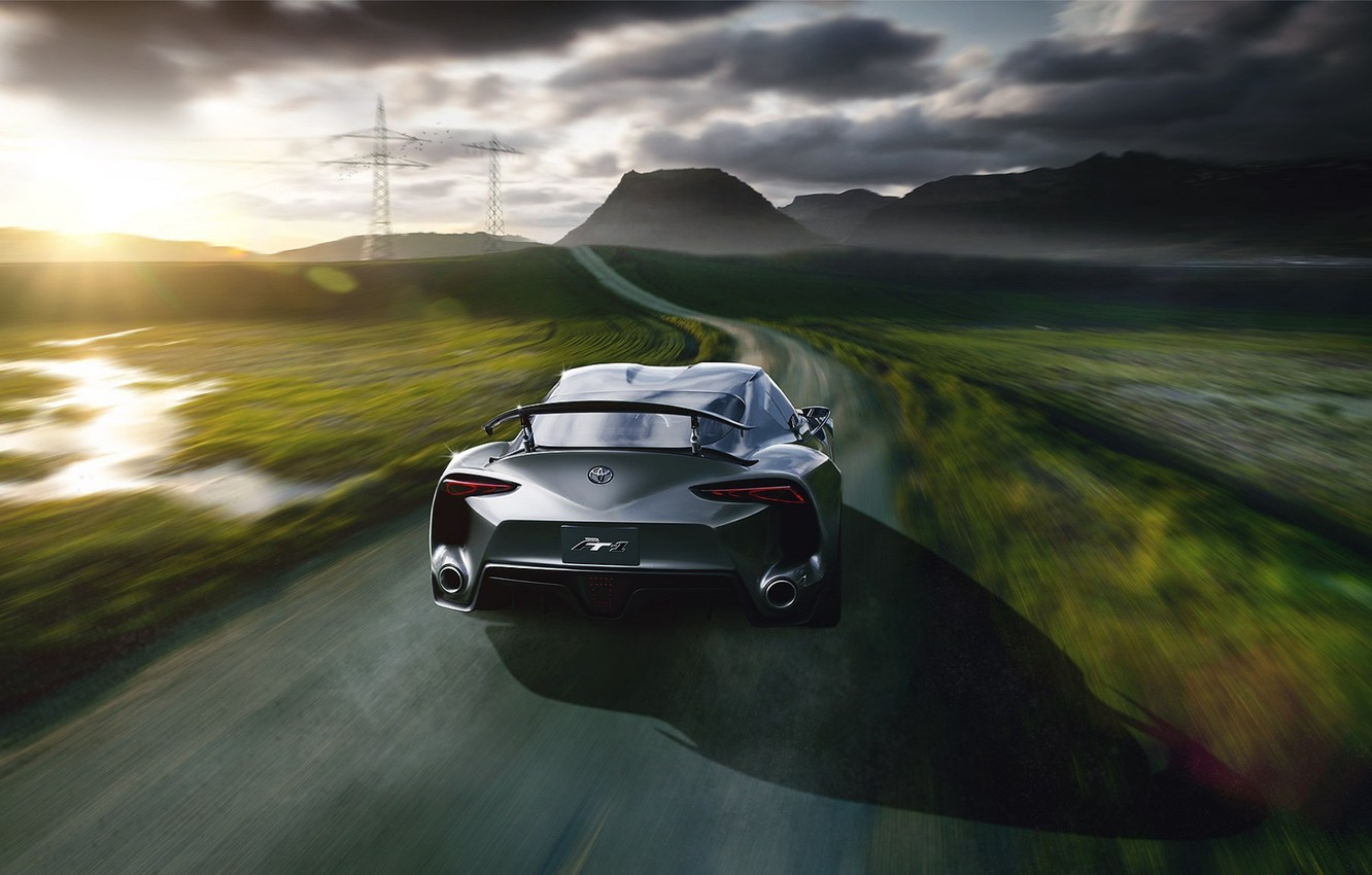 Photo wallpaper Concept, Toyota, Car, Speed, Sun, Road, Automotive, Rear, FT-1