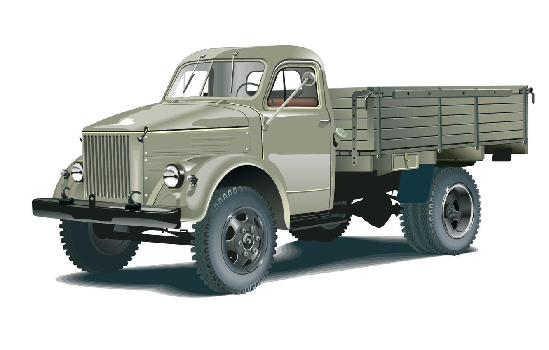 Photo wallpaper retro, vector, truck, cabin, GAS