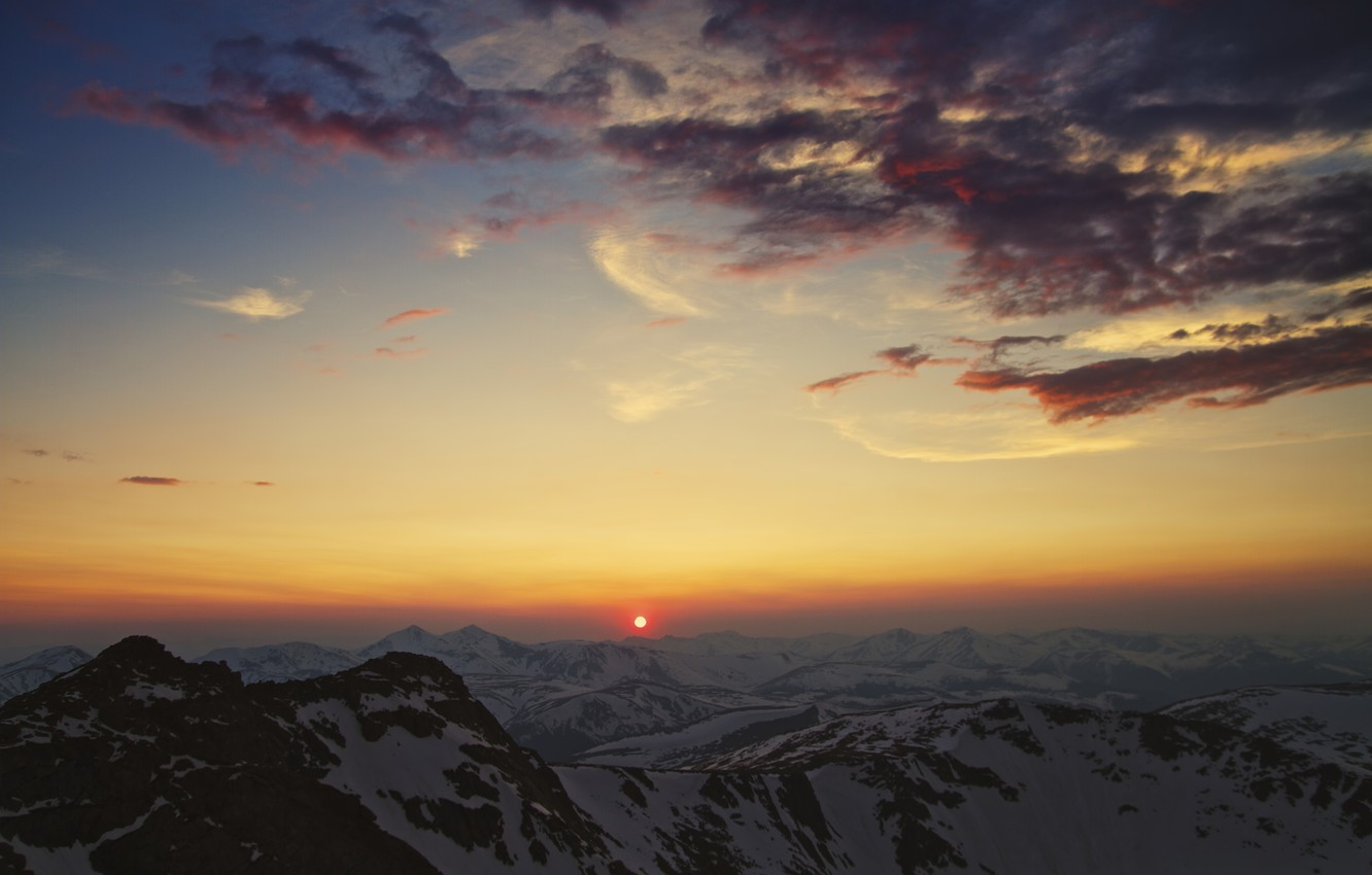 Photo wallpaper the sky, the sun, clouds, sunset, The Mountains Of The Cordillera