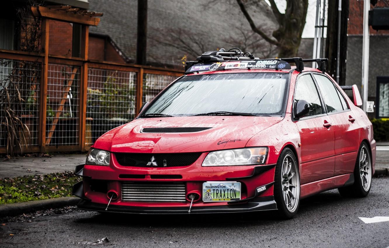 Photo wallpaper Red, Mitsubishi, Lancer, Red, Lights, Tuning, Lancer, JDM, Wheels, Evolution 9, Mitsubishi, Evolution 9