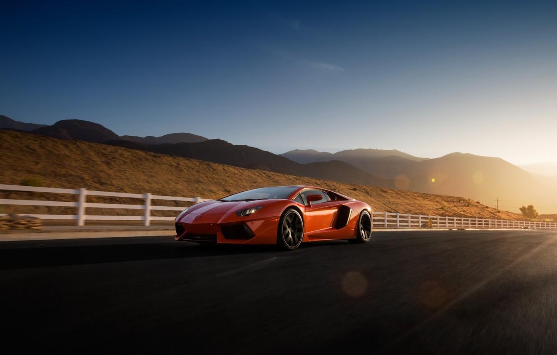 Photo wallpaper Lamborghini, Orange, Sky, Front, Sun, LP700-4, Aventador, Road, Supercar, Wheels