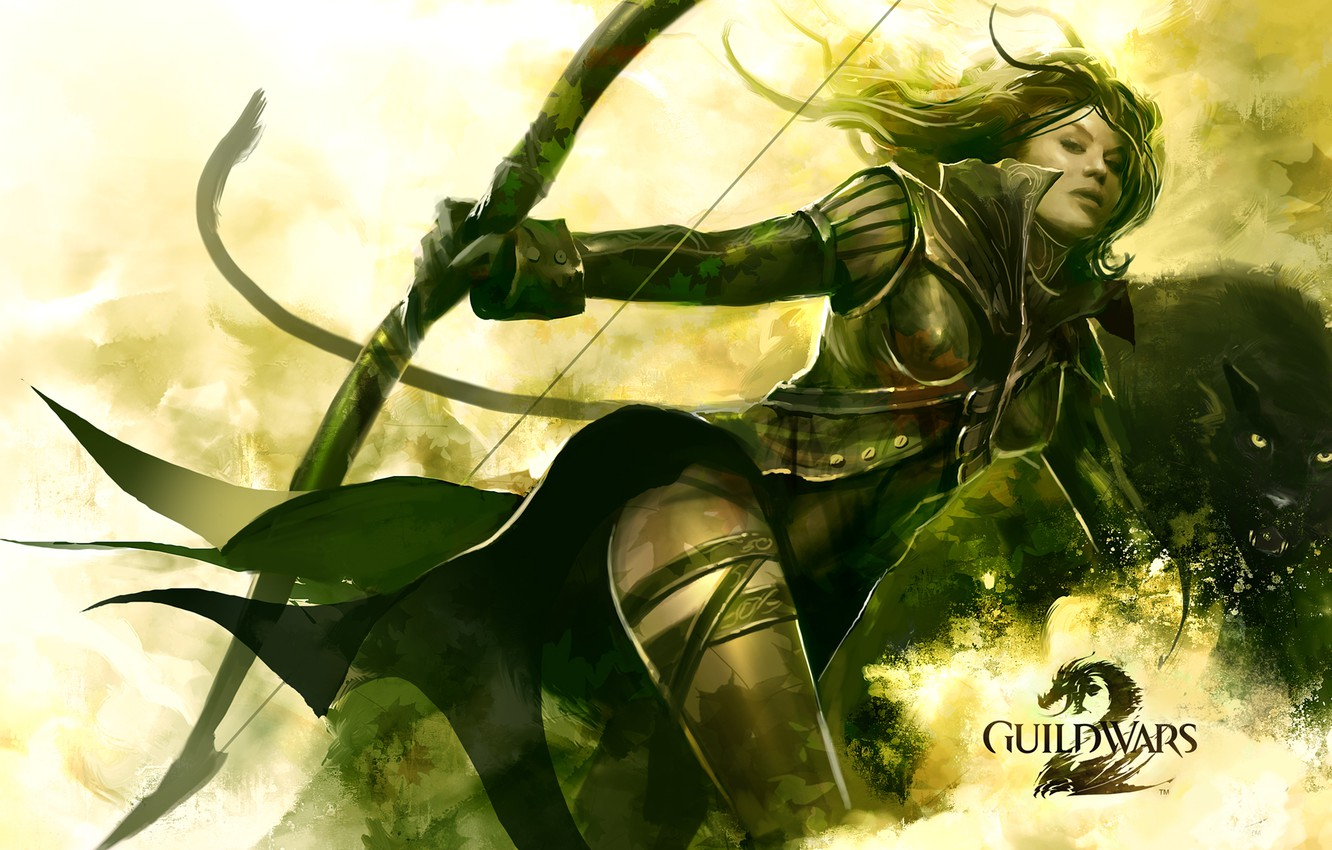 Wallpaper girl, Panther, warrior, bow, Guild Wars 2, Archer, string